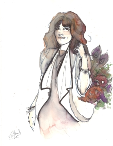 A watercolor portrait of writer Cat Skinner