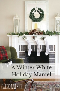a winter white holiday mantel